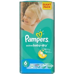Pampers Active Baby-Dry Extra Large 56ks 15+kg