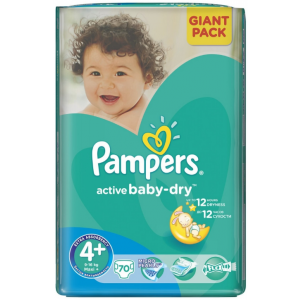 Pampers Active Baby-Dry Maxi+ 70ks 9-16kg